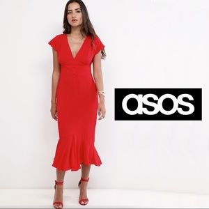 ASOS red midi tea dress with bow back size 0